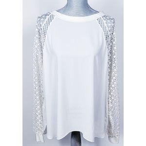 Loft Ivory All Seasons Lace Long Sleeve Blouse